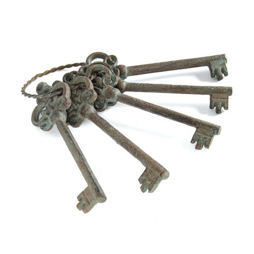 Rustic Antique Green Metal Decorative Keys Set