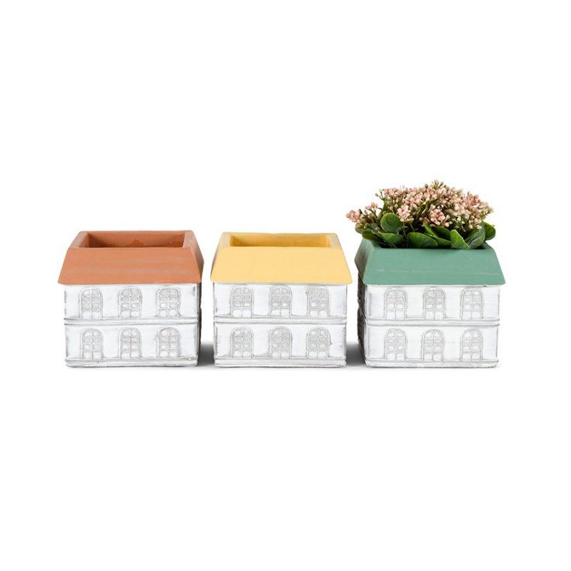 Set of 3 Home Shape Terracotta Pot Planter