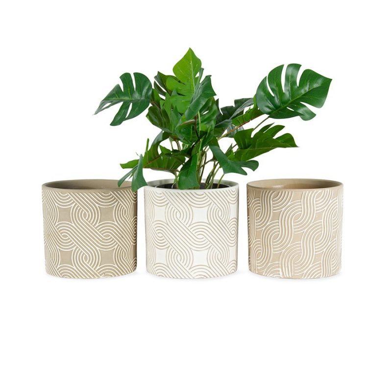 Set of 3 Taupe Swirl Geometric Terracotta Pot Planter