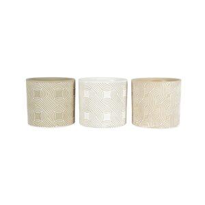 Set of 3 Taupe Swirl Geometric Terracotta Pot Planter