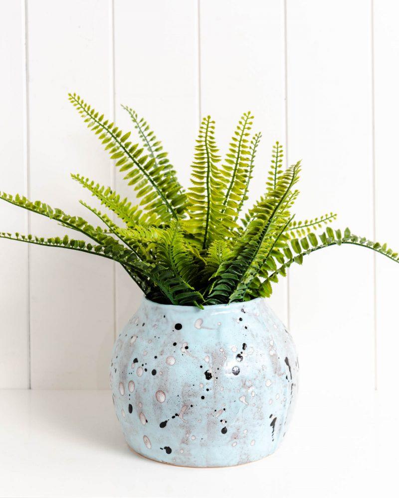 Sky Blue Abstract Ceramic Pot Planter