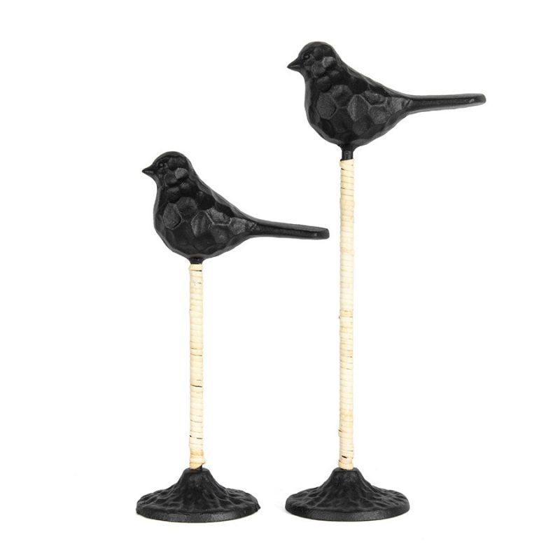 Stilted Black Metal Birds on Base Statue - Set of 2