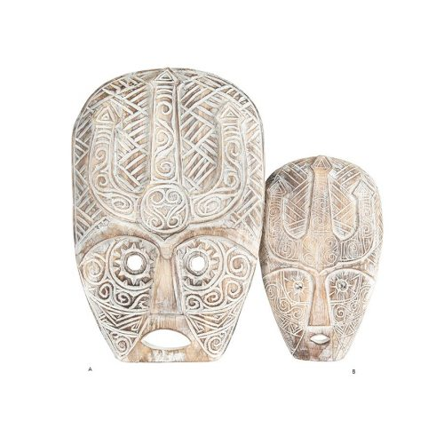 Tribal Warrior Mask Hand-Carved Wooden Wall Art