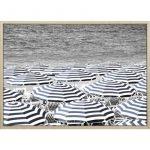Umbrellas By The Beach Framed Canvas Print Wall Art