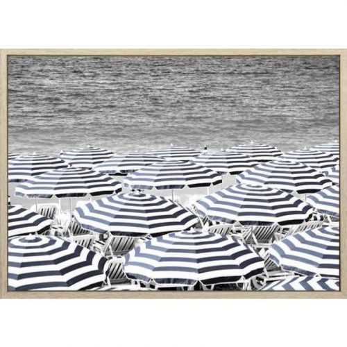 Umbrellas By The Beach Framed Canvas Print Wall Art