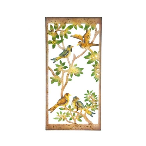 Vibrant Birds on Tree Rustic Metal Wall Art