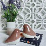 White Pink Ceramic Bird Figurine