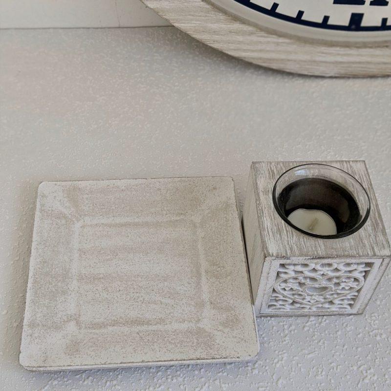 White Wash Filigree Heart Wooden Tea Light Candle Holder