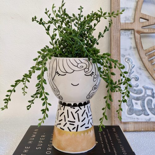 Black White Spotty Girls Face Pot Planter