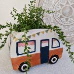 Bright Boho Retro Beach Van Ceramic Planter, 15x19 cm