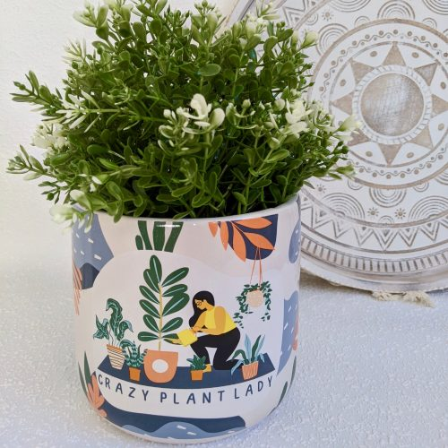 Colourful Crazy Plant Lady Ceramic Planter