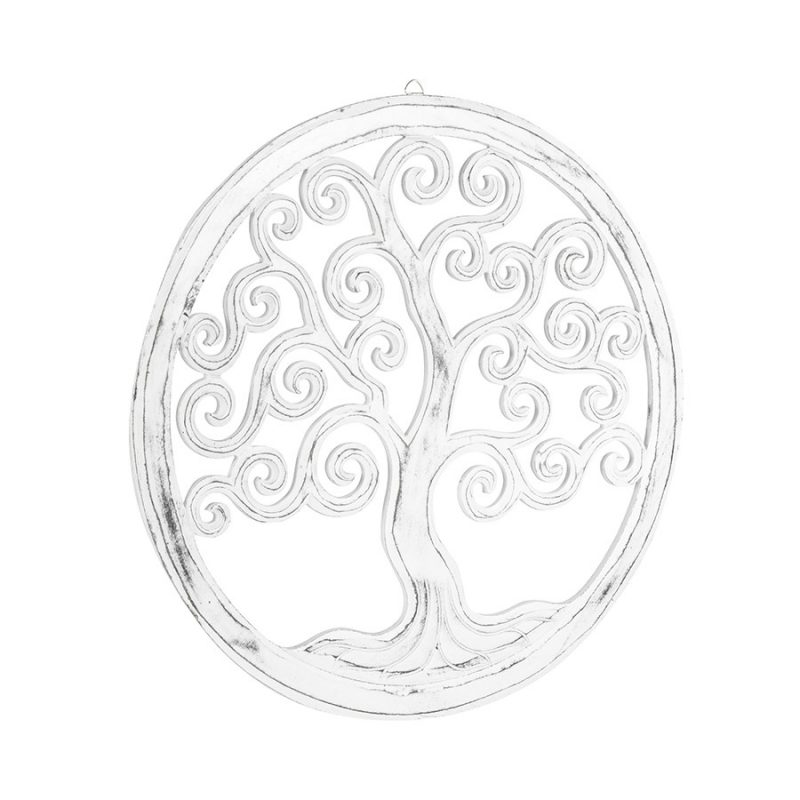 Distressed White Tree of Life Round Wooden Wall Art