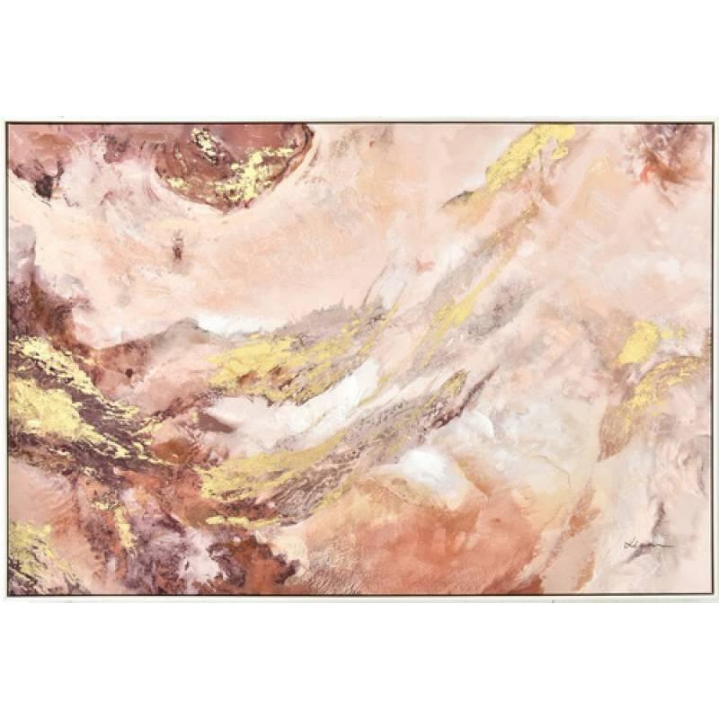 Golden Pink Marble Framed Canvas Print Wall Art