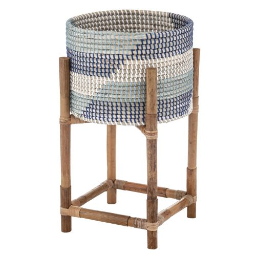 Hamptons Blue Rattan Planter