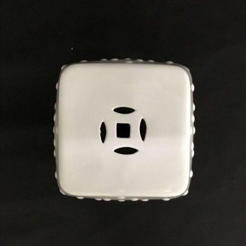 Hamptons White Ceramic Accent Stool