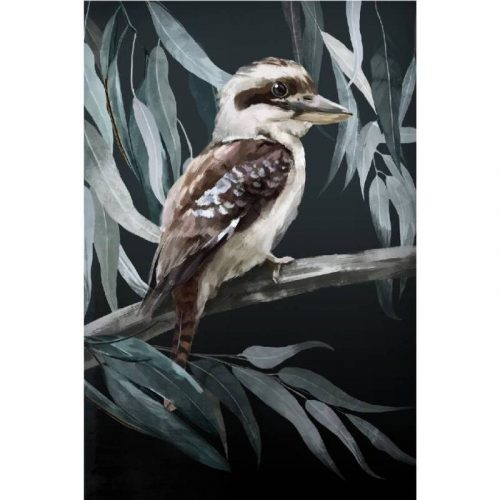 Kookaburra Sitting on Tree Framed Canvas Print Wall Art