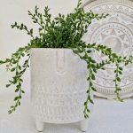Large White Speckled Ceramic Face Pot Planter