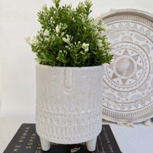 Large White Speckled Ceramic Face Pot Planter
