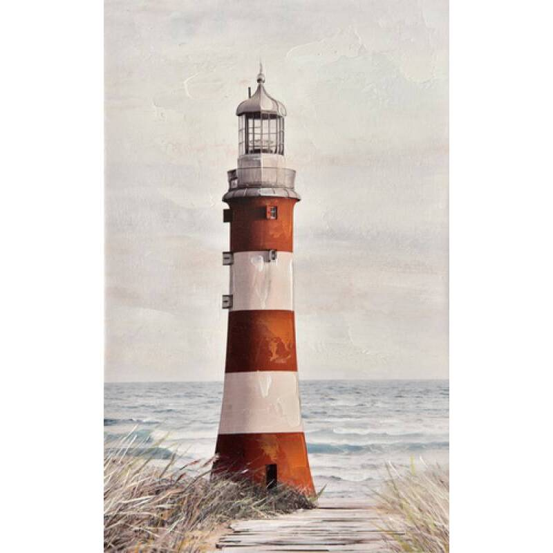 Lighthouse by the Sea Framed Canvas Print Wall Art