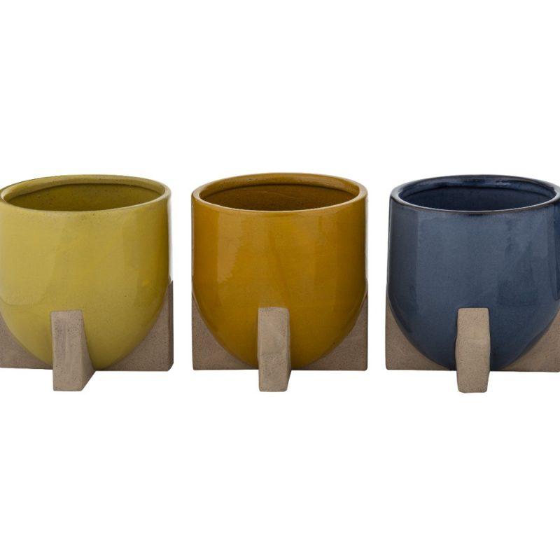 Modern Orange Yellow Navy Ceramic Pot Planter with Feet