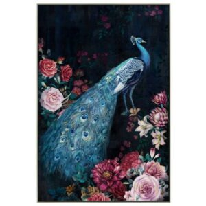 Peacock with Flowers Framed Canvas Print Wall Art