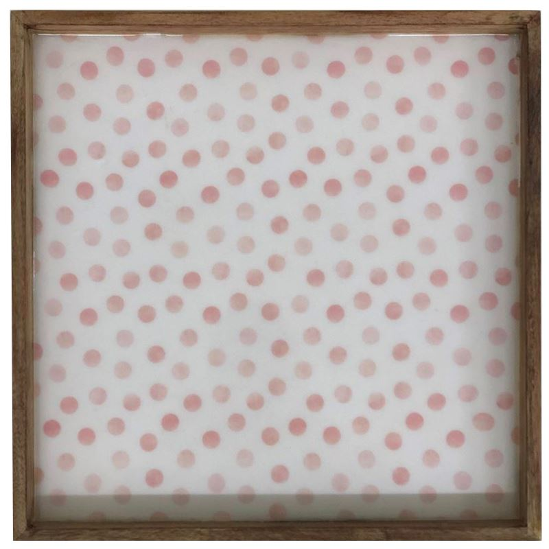 Pink Dots Laminated Mango Wood Tray