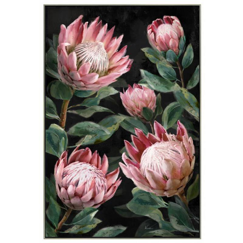 Protea Flowers with Leaves Framed Canvas Print Wall Art