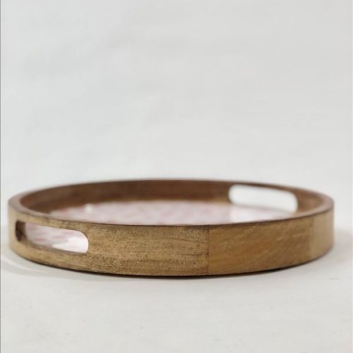 Round White Pink Dots Wooden Tray - Set of 2