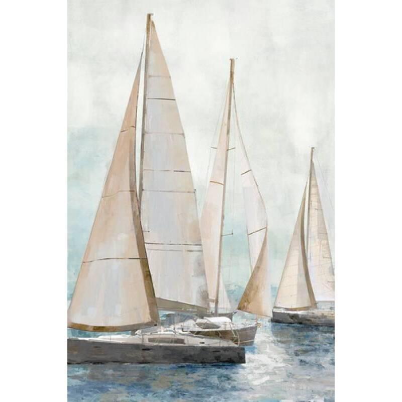 Sailboat Race Framed Canvas Print Wall Art