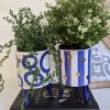 Set of 2 Blue Dots and Stripes Planter