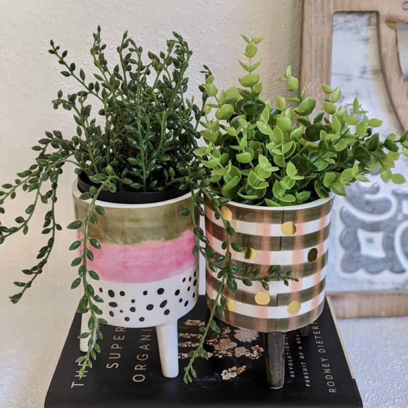 Set of 2 Checks and Stripes Ceramic Planter
