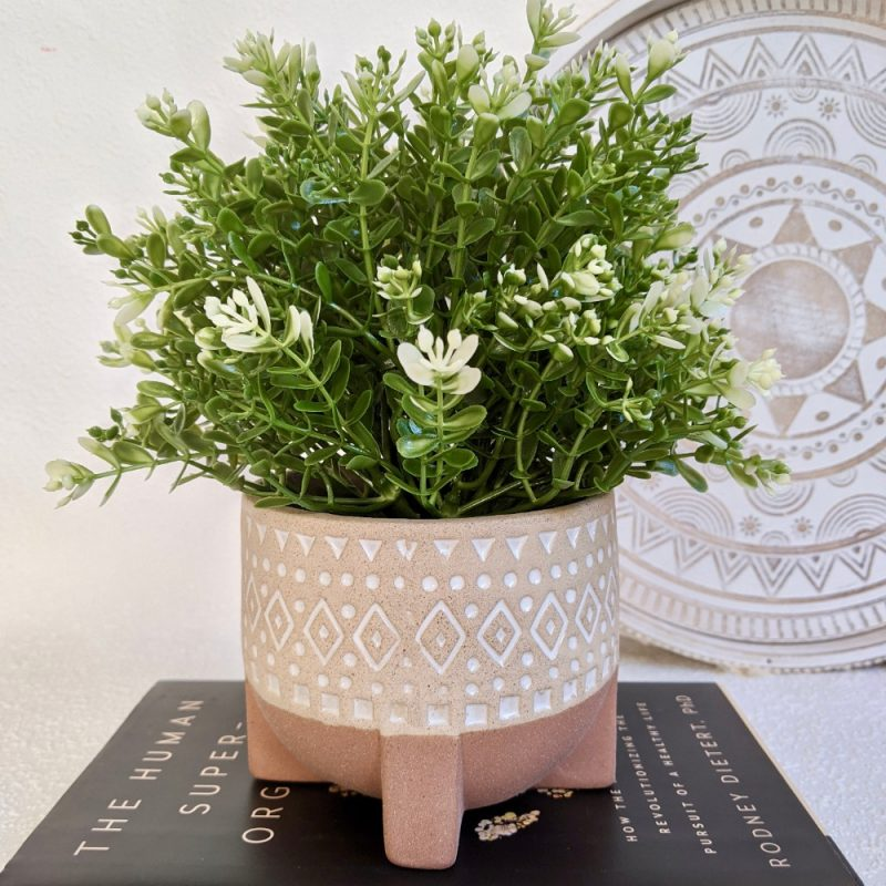 Tribal Beige Ceramic Pot Planter With Sandy Legs