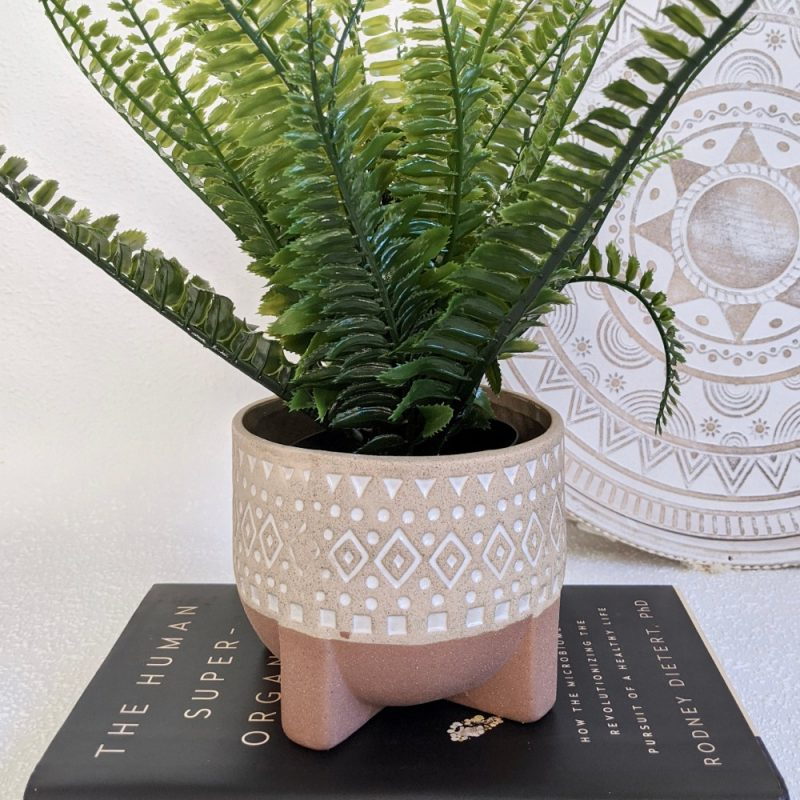 Tribal Beige Ceramic Pot Planter With Sandy Legs