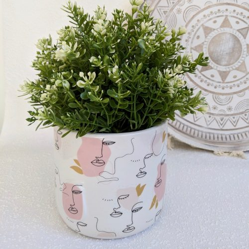 White Pink Linear Multi Face Ceramic Planter
