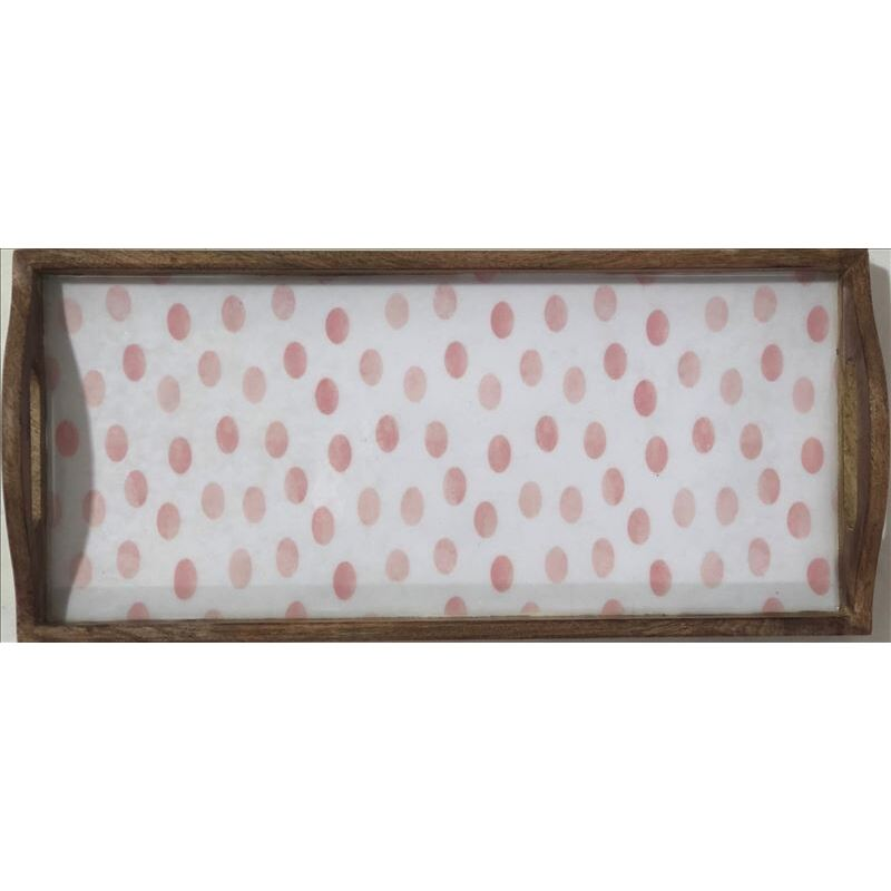 White Pink Spots Wooden Rectangle Tray - Set of 2