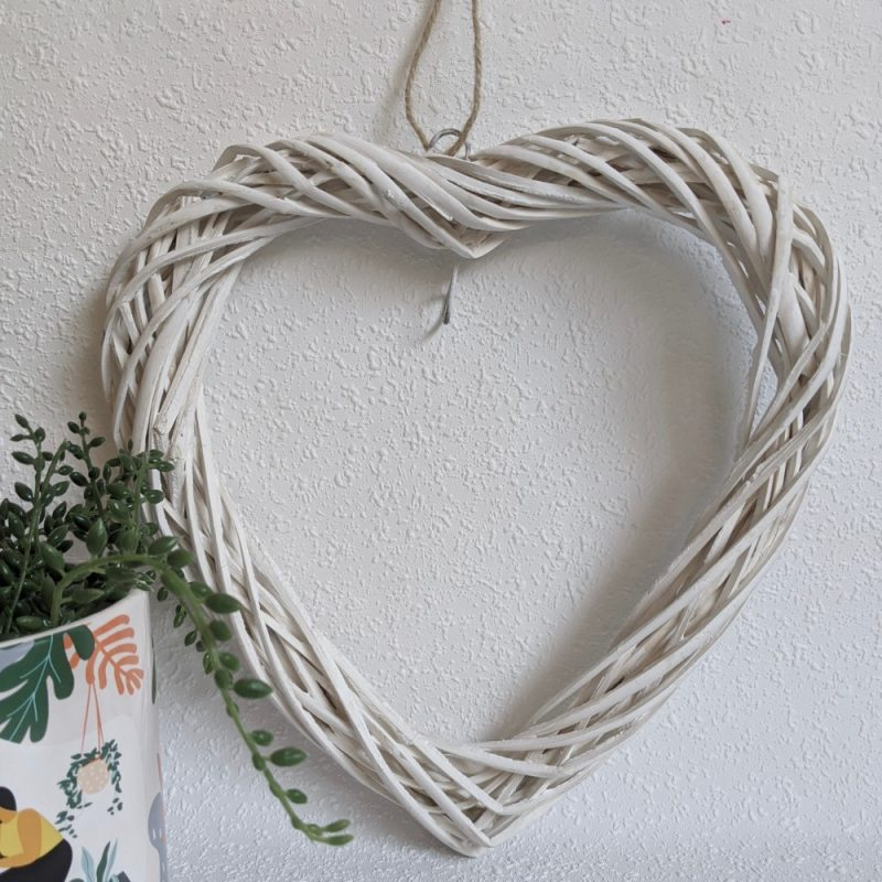 White Rattan Hanging Heart Wall Art Decor