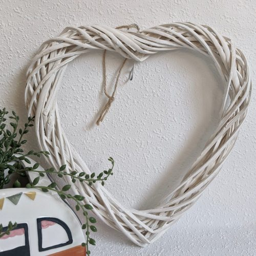White Rattan Hanging Heart Wall Art Decor