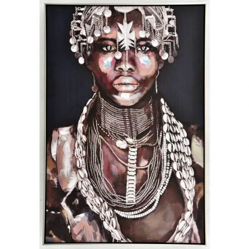 Aiyana Tribal Girl Framed Canvas Wall Art