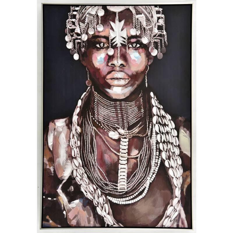 Aiyana Tribal Girl Framed Canvas Wall Art