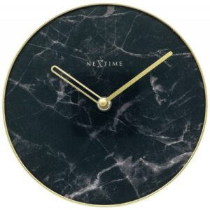 Black Marble Look NexTime Silent Table Clock
