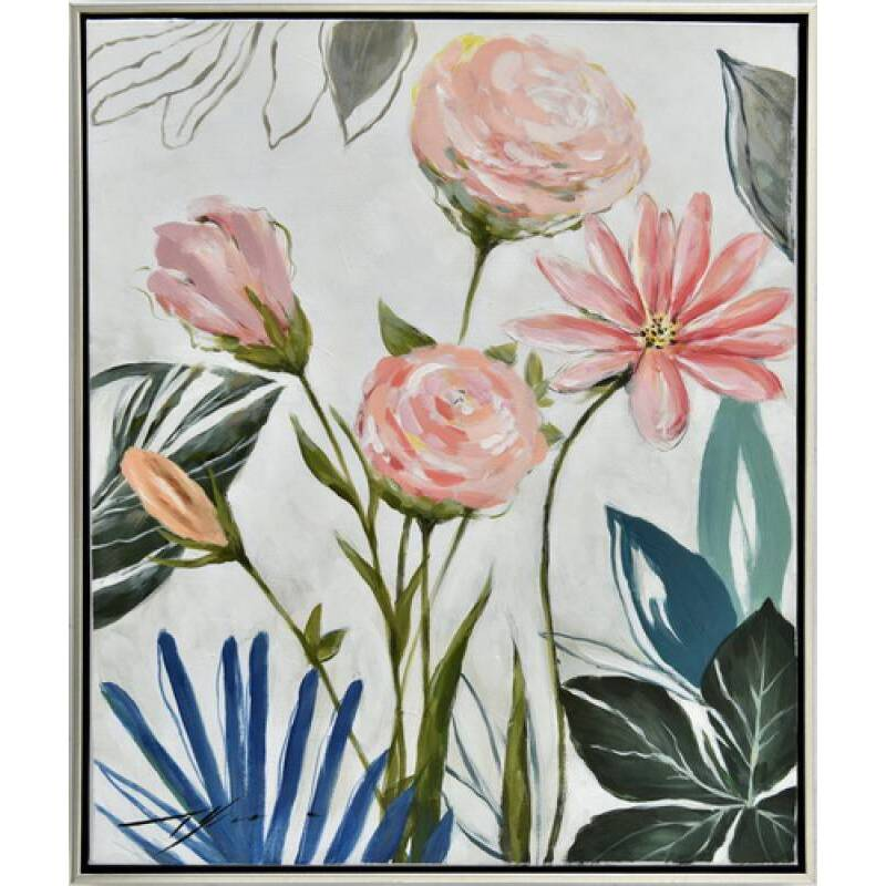 Blooming Flowers Framed Canvas Wall Art