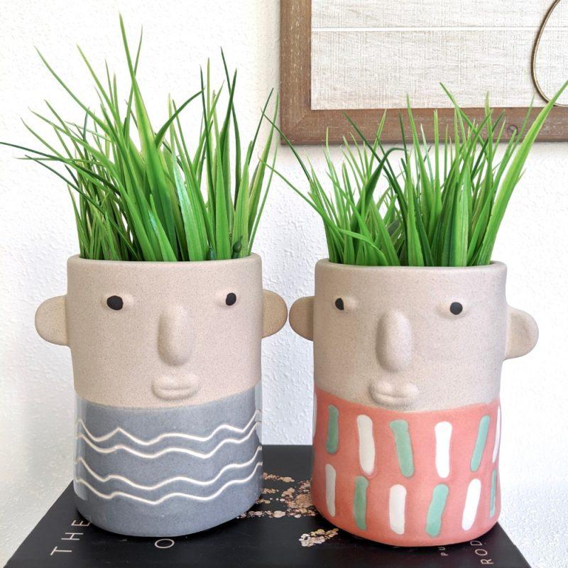 Blue Coral Cheeky Boy Pot Planter