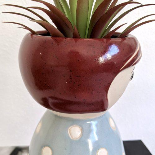 Blue Girl Face Vase Planter