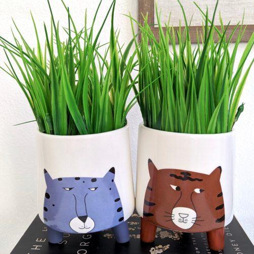 Blue Orange Tiger Face Ceramic Pot Planter