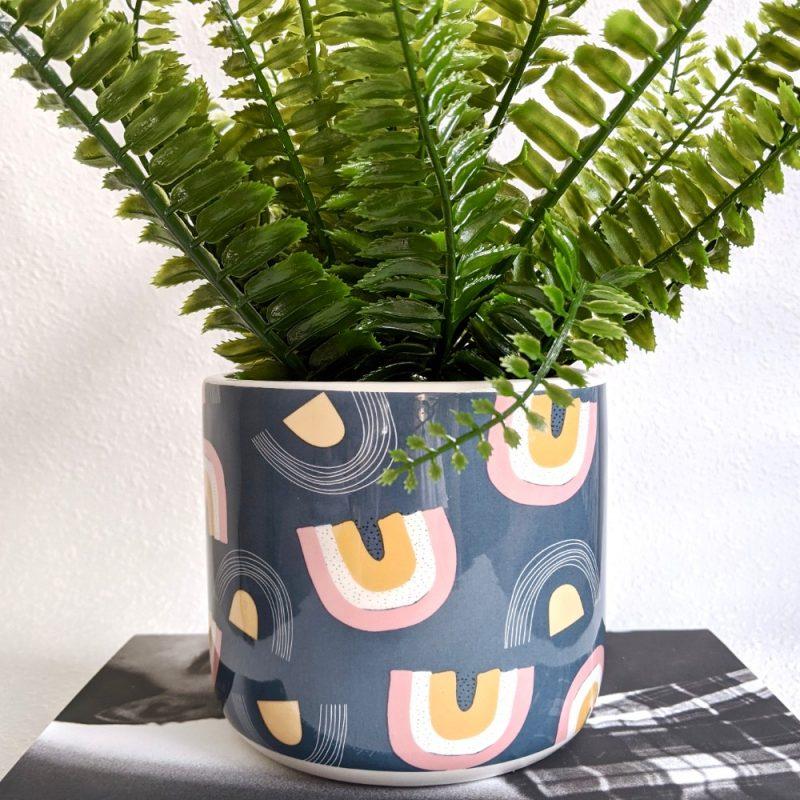 Blue Rainbow Ceramic Pot Planter _a