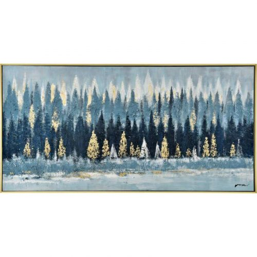 Blue Tree Forest Framed Canvas Wall Art