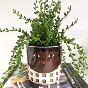Brown & Goggle Girl Ceramic Pot Planter