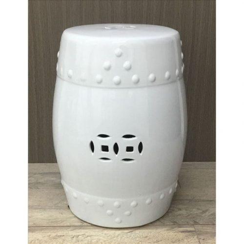 Coastal White Ceramic Accent Stool