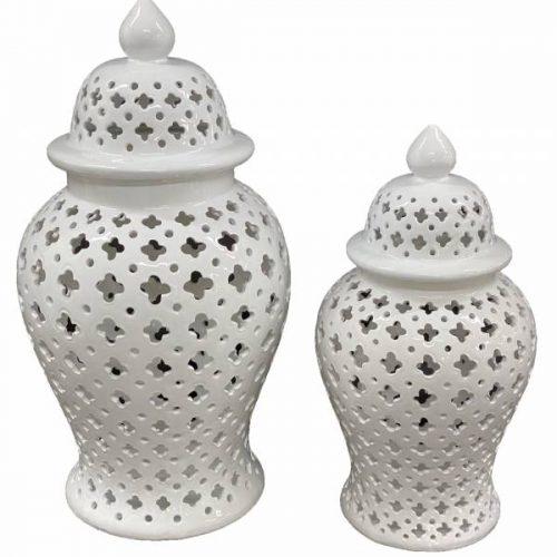 Coastal White Ceramic Ginger Jar Vase