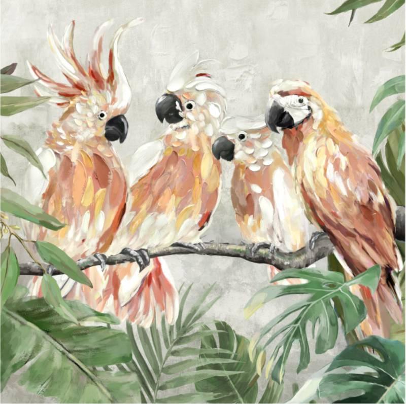 Cockatoo on Leaves Framed Canvas Wall Art